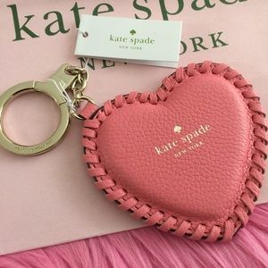 Kate Spade Pink Heart Leather Key Fob Bag Charm